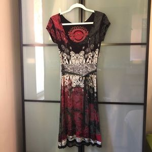 Desigual Midi Dress Size S with front tie